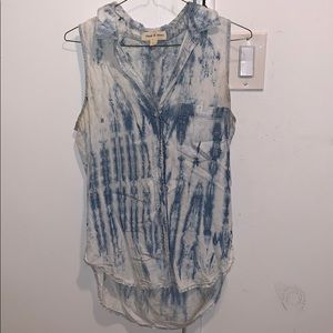 Tie dye button down tank